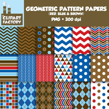 Clip Art: Geometric Patterns-Red, Blue, Brown - 18 Digital Papers