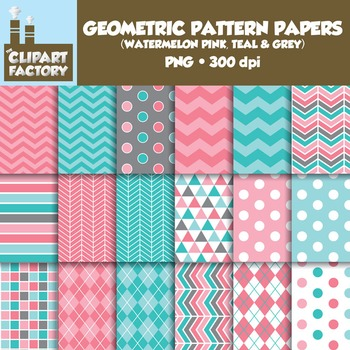 Clip Art: Geometric Patterns-Watermelon Pink, Teal, Grey - 18 Digital Papers