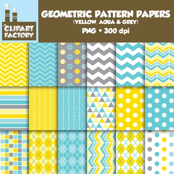 Clip Art: Geometric Patterns-Yellow, Aqua, Grey - 18 Digital Papers