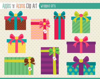Wrapped Gifts Clip Art - color and outlines