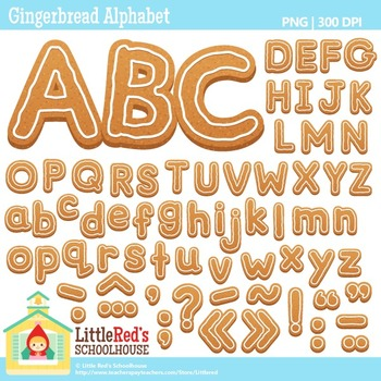 Gingerbread Alphabet Letters and Punctuation Mark Clipart