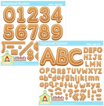 Gingerbread Letters and Numbers Clipart Bundle