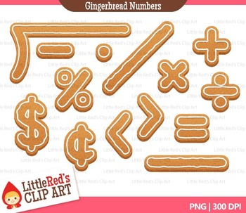 Gingerbread Numbers and Math Symbols Clipart