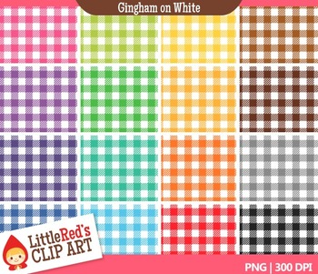 Gingham on White Backgrounds - Digital Paper Patterns