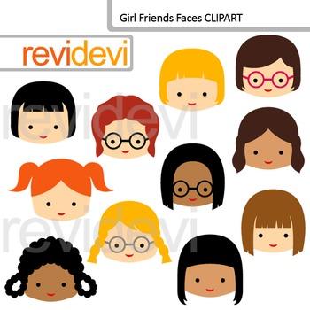Clip Art Girl Friends Faces (classmates, friends clipart)