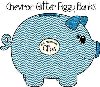 Clip Art - Glitter Chevron Piggy Banks