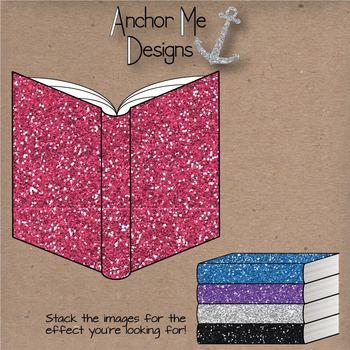 Clip Art: Glitter Classroom Items- open & closed books, pencils, notebooks