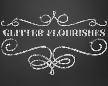 Clipart - Glitter Flourishes and Frame Pieces