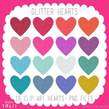 Clip Art: Glitter Hearts