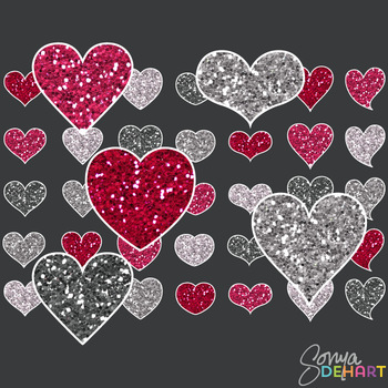 Clipart - Glitter Hearts Set of 35