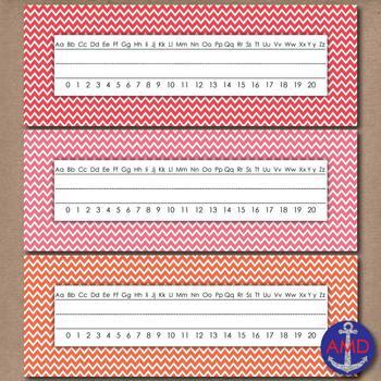 Bright Chevron Name Tags & Sentence Strip Printables in 3 styles
