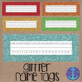 Glitter Name Tags or Labels for Student Desks Printables