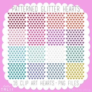 Clip Art: Glitter Pattern Hearts