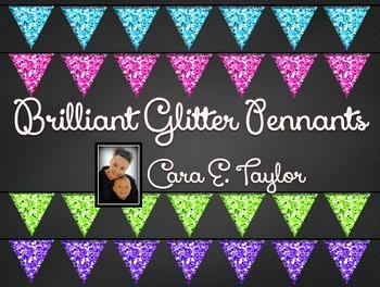 Clip Art~ Glitter Pennant or Banner Flags!