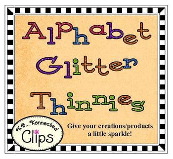 Clip Art - Glitter Thinnies - Upper & Lowercase Alphabet