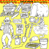 Clip Art Gold Rush in black and white