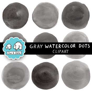 Clip Art: Gray / Black Watercolor Dots / Circles Personal and Commercial Use OK