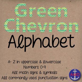 Clip Art: Green Chevron Stitched Alphabet & Numbers Clip Art Set (Letter Tiles)