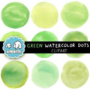 Clip Art: Green Watercolor Dots / Circles for Personal and