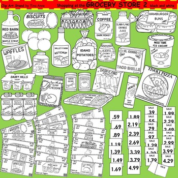 Clip Art Grocery Store 2 in black and white