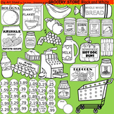 Clip Art Grocery Store in black and white
