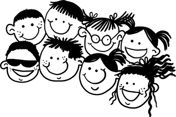 Clip Art Group of Happy Smiling Children