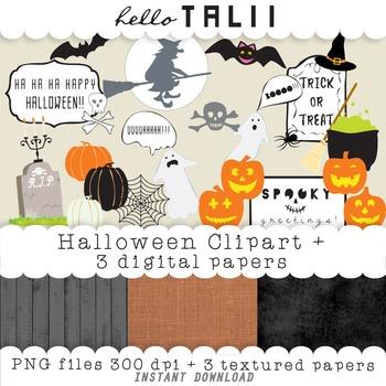 Clip Art: Halloween Clipart + 3 textured paper backgrounds