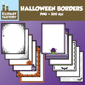Clip Art: Halloween Page Borders- 12 Halloween themed borders-frames