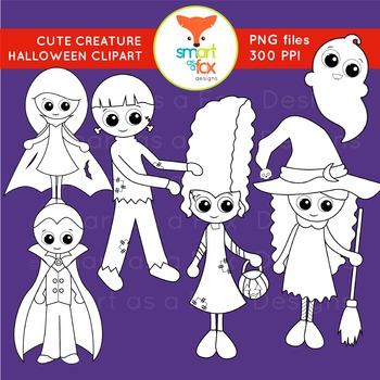 Halloween Vampire Frankenstein Ghost Witch Creatures Clipart