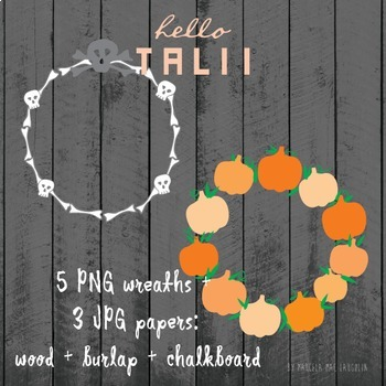 Clip Art: Halloween Wreaths + 3 textured papers