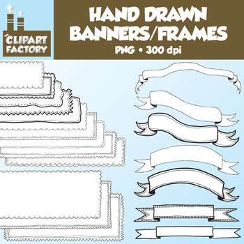 Clip Art: Hand Drawn Banners and Frames - 20 Digital Banners Frames and Borders