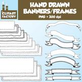 Clip Art: Hand Drawn Banners and Frames - 20 Digital Banne