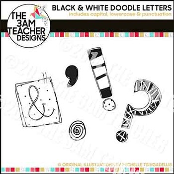 Clip Art: Hand-Drawn Doodle Letters in Black & White