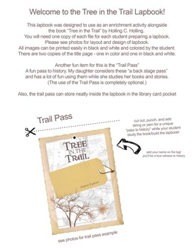 Free printable Lapbook for Tree in the Trail by Holling C. Holling