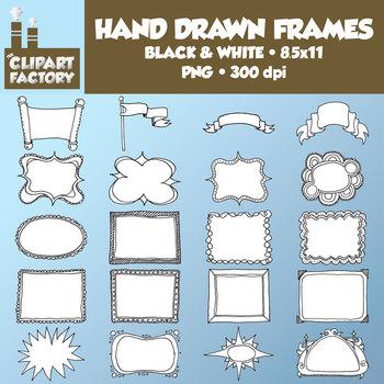 Clip Art: Hand Drawn Frames, Borders, Headers - 20 Fun Decorative Frames