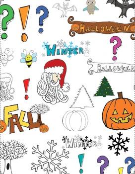 Clip Art - Hand Drawn - Fun - Halloween, Fall, Christmas, Winter, Owl, bee