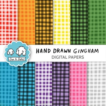 Clip Art: Hand Drawn Gingham Digital Papers for Personal a