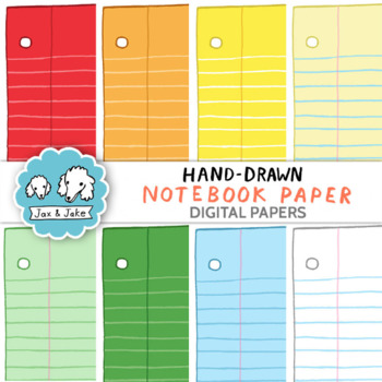 Clip Art: Hand-Drawn Notebook Paper Digital Papers Personal and Commercial Use