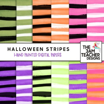 Clip Art: Hand Painted Spooky Halloween Stripes