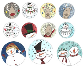 Watercolor Clip Art; Winter Snowman & Reindeer