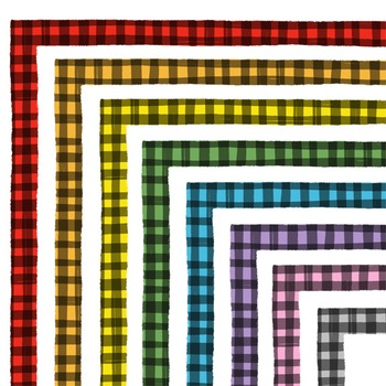 Clip Art: Hand Drawn Gingham Border Set