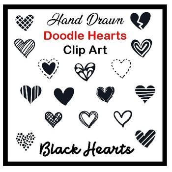 Clip Art Hand drawn doodle hearts- black valentine's