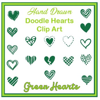 Clip Art Hand drawn doodle hearts- green valentines
