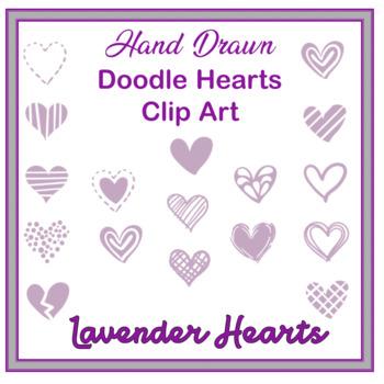 Clip Art Hand drawn doodle hearts- lavendar valentines