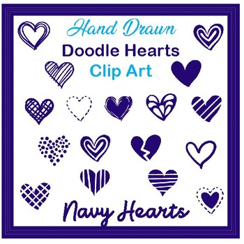 Clip Art Hand drawn doodle hearts- navy blue valentines