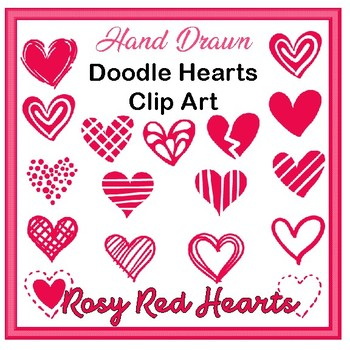 Clip Art Hand drawn doodle hearts- rosy red valentines