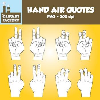 Clip Art: Hands Air Quotes - Color & Black & White