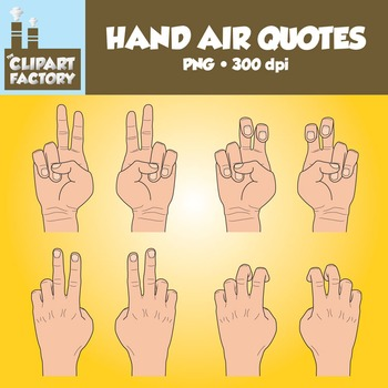 Clip Art: Hands Air Quotes - Color & Black & White