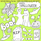 Clip Art Happy Halloween in black and white