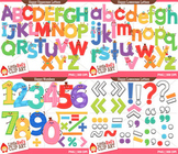 Happy Letters and Numbers Clipart Bundle - blacklines included